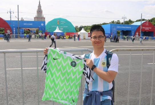 Argentina Fan Pays Homage To Nigeria Holding Super Eagles Jersey (Photo)