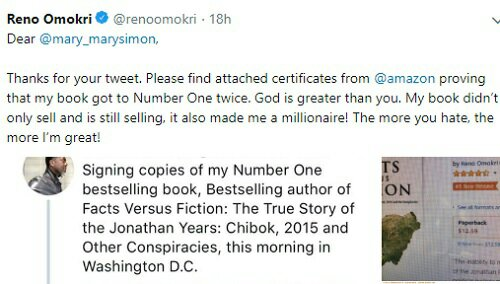 Reno Omokri Replies Critic Of His Book, Tells Her It Made Me A Millionaire