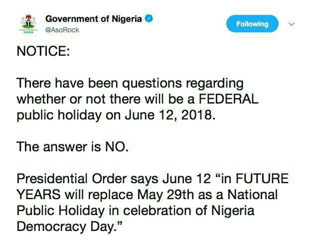 There will be No Federal Public Holiday on June 12, 2018 – FG Clarifies