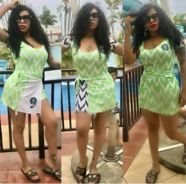 Slay Queen Turns Her Super Eagles Jersey Into Sexy Gown, Rocks it (Photos)