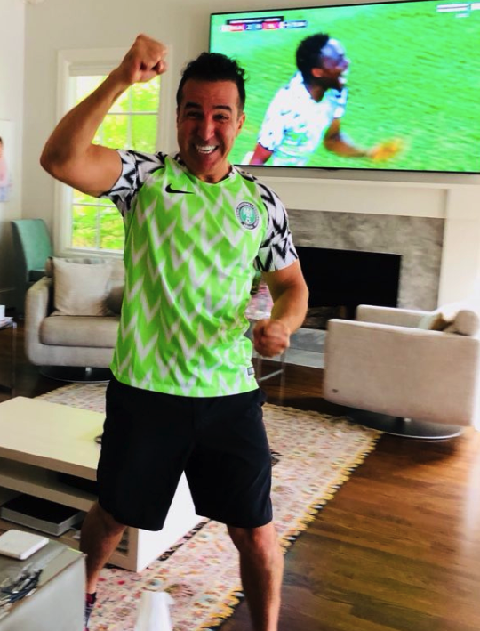 online store 9cf40 cbf6d Photo Of Oyinbo Man Rocking Super Eagles Jersey Celebrating ...
