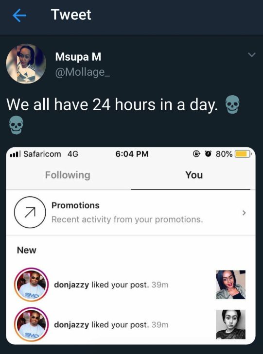 "Jealous Lady Calls Twitter User An ""Ugly Faced B!tch"" Because Don Jazzy Liked Her Posts"