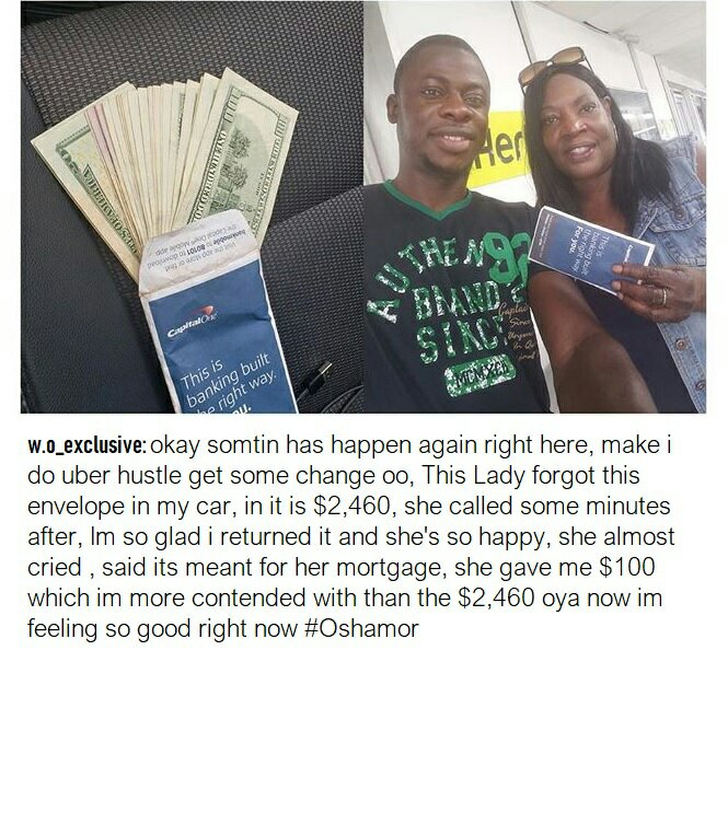 Nigerian Uber Driver Happily Returns $2,500 Forgotten In His Car By A Passenger