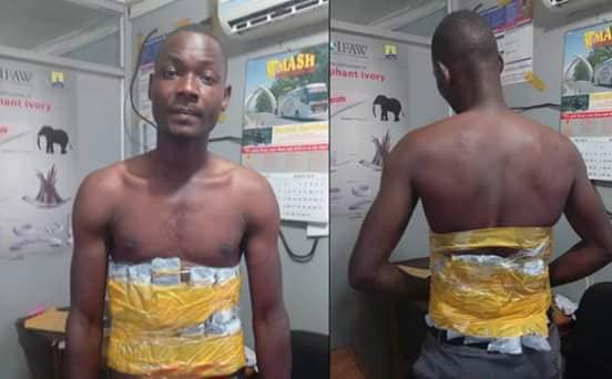 See How This Man Concealed Mobile Phones On His Body In A Bid To Smuggle Them