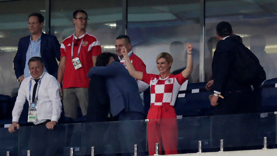 World Cup; Croatian First Female President Celebrates Country's Semi Final Qualification (Photos)