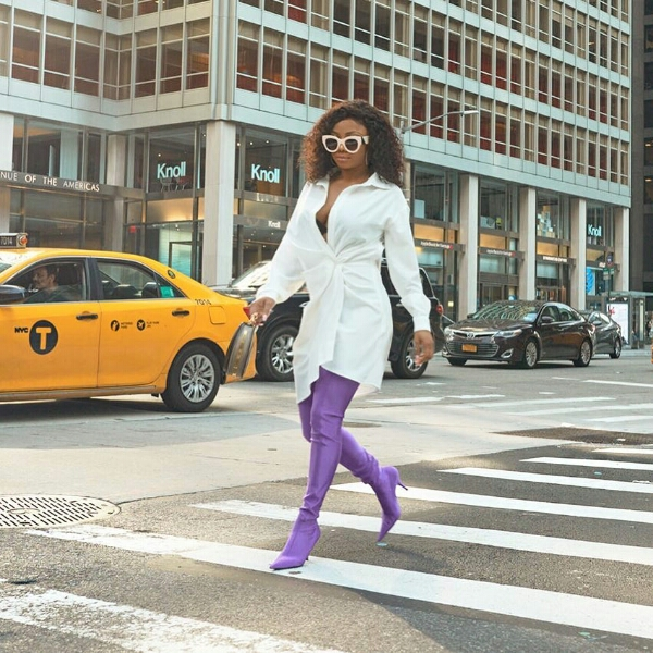 Toke Makinwa Steps Out In Her Stylish Outfit On New York City (Photos)