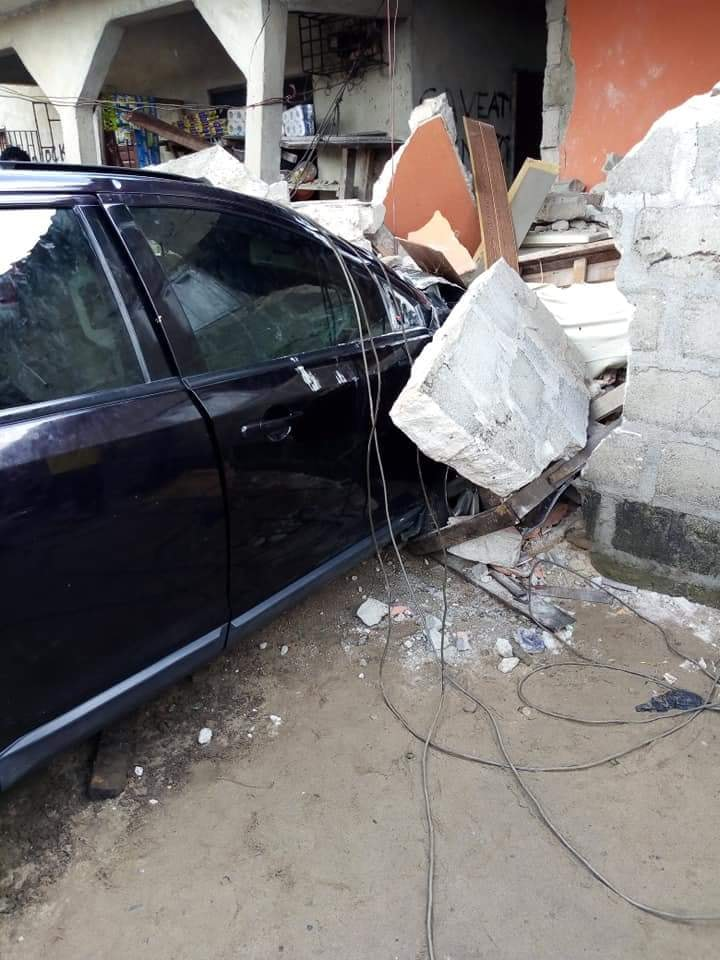 Woman Crashes Her Car Into A Residential Building After Losing Control (Photos)