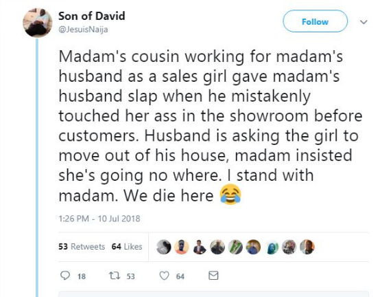 Sales Girl Slaps Her Boss For Grabbing Her Butt, He Tries To Sack her, And See What his Wife did