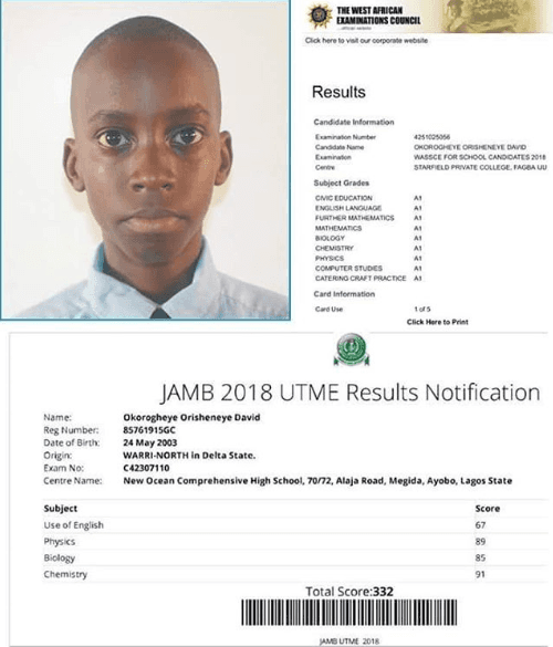 Meet The 15yrs Old Boy Who Made Straight A's In His Waec & Scored 332 In His UTME
