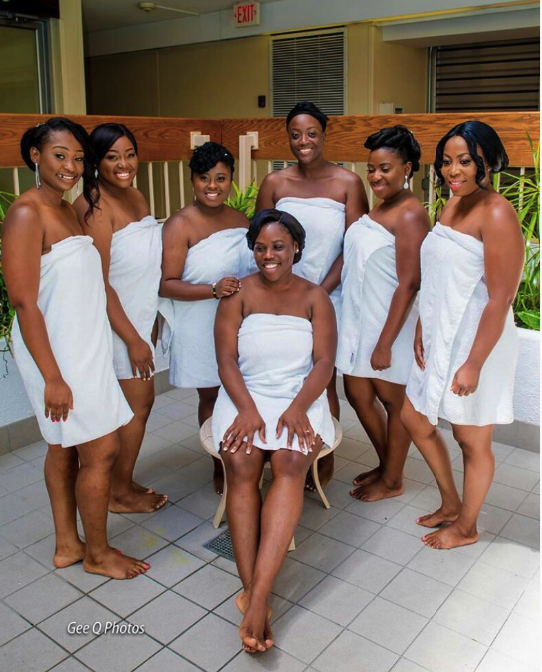 Bride And Her 6 Bridesmaids GoesBraless, Rocks Towel Without Shoes
