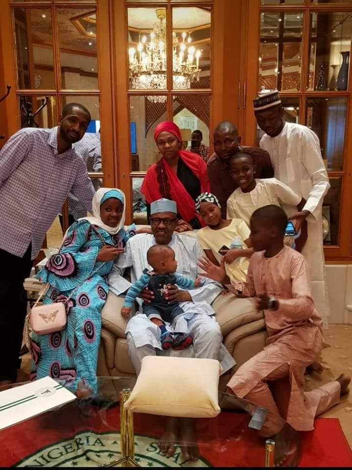 Buhari In A Cheerful Mood With His Grandchildren At The Presidential Villa (Photos)