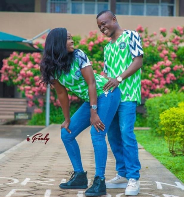 Couple Rocking Super Eagles Jersey In Doggy Pre-Wedding Photos