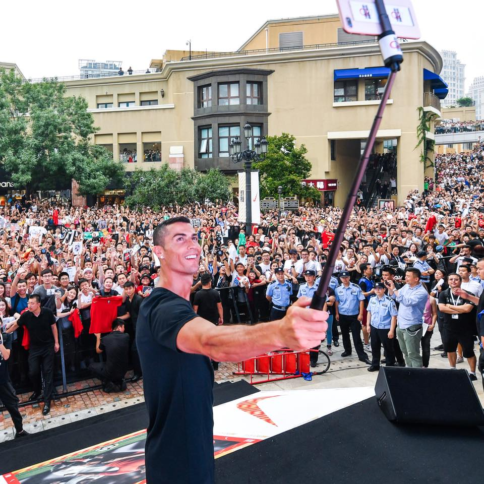 Cristiano Ronaldo Worshiped By Fans As He Touches Down In China (Photos)