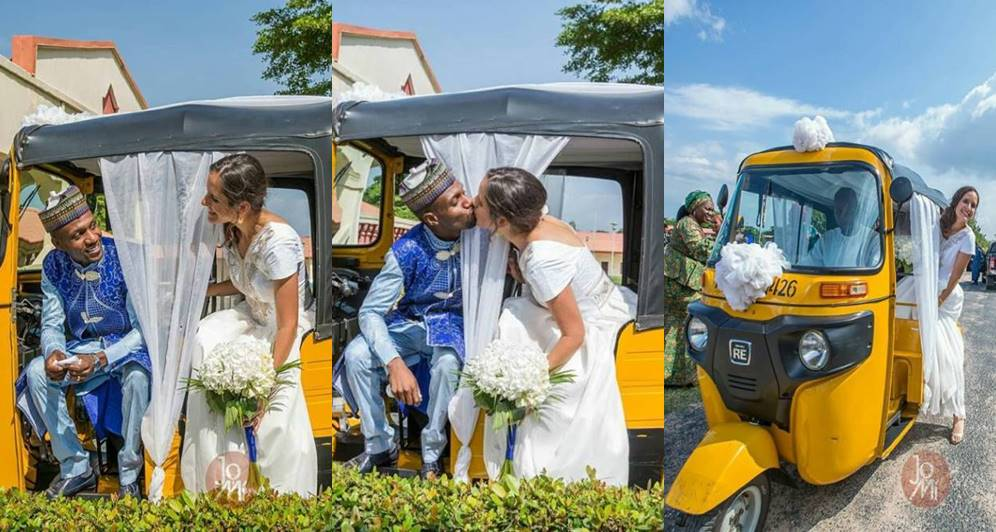 Too Cute! Nigerian Man And His Oyinbo Bride Wed With Keke Napep(Photos)