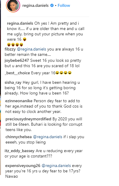 Nigerians Roast Regina Daniels For Claiming To Be Still 16 Years Old