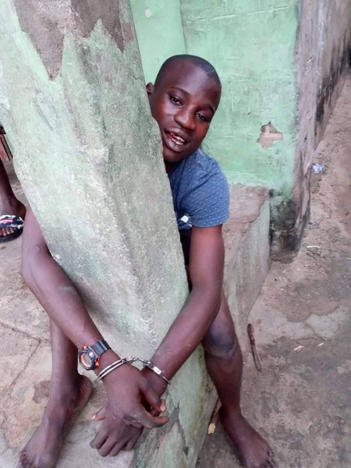 Thief Beaten And Tied To Pillar After Being Caught Stealing Keke (Photo)