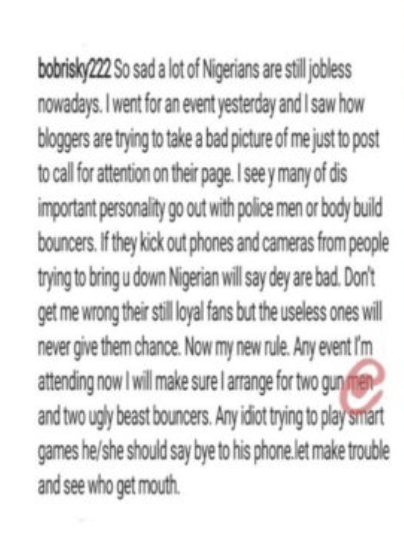 Bobrisky Threatens To Beat Up Nigerian Bloggers And Journalists For Doing This To His Photos
