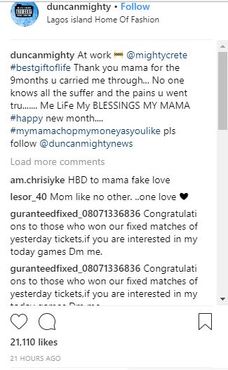 'Chop my money as you like'- Duncan Mighty Says As He Get Cozy With His Mom (Photos)