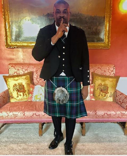 Photos: Don Jazzy Rock Skirt as he Arrives Scotland for Vacation