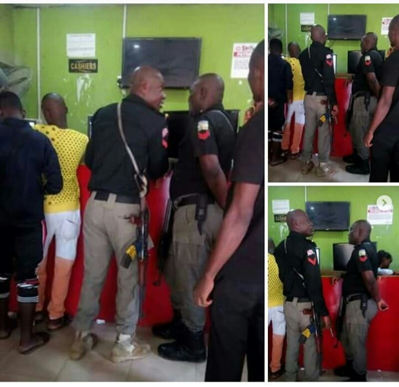 Nigeria Police Officers Pictured At Bet9ja Shop Gambling
