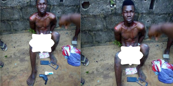 Thief Apprehended, Strips Nakked After Robbing Lady With a Toy Gun (Photos)