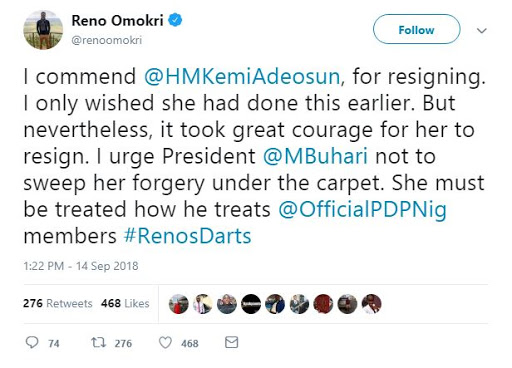 Here's How Reno Omokri Reacted to Kemi Adeosun Honorably Resigning Over NYSC Certificate