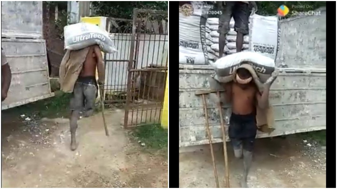 One Legged Man Spotted Carrying A Bag Of Cement