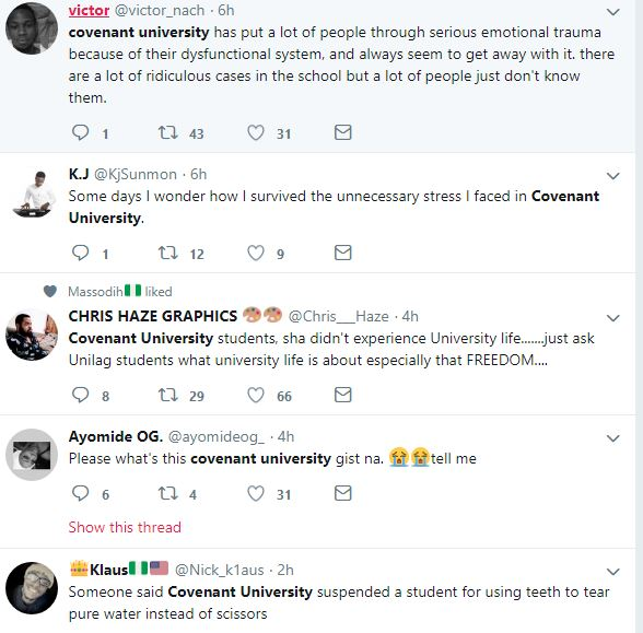 Nigerians Reacts to Covenant University Staffs Demanding S*x from Students (Screenshots)