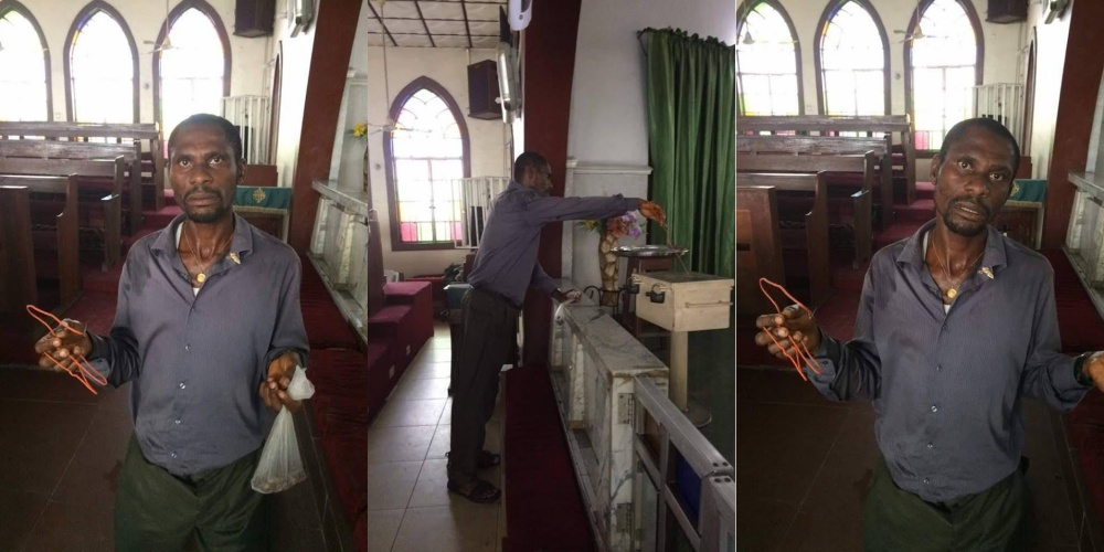 Man Caught Red-Handed While Using Wire To Steal From A Tithe Box (See photos)