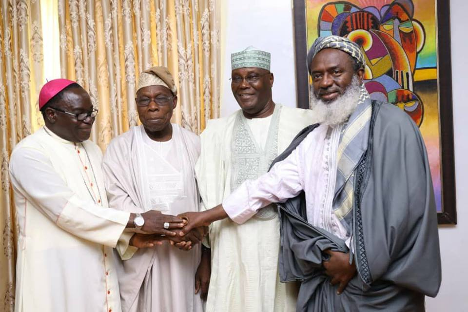 Atiku, Bishop Oyedo, Bishop Kukah Visits Obasanjo At His Residence
