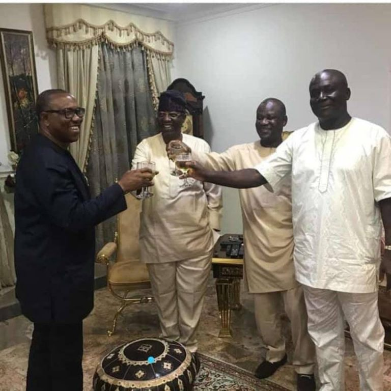 Peter Obi Pops Champagne After Being Picked As Atiku's Running Mate (Photo)
