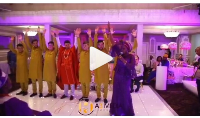 See How Oyinbo Man & His 6 Groomsmen Prostrated For Parents Of His Yoruba' Bride
