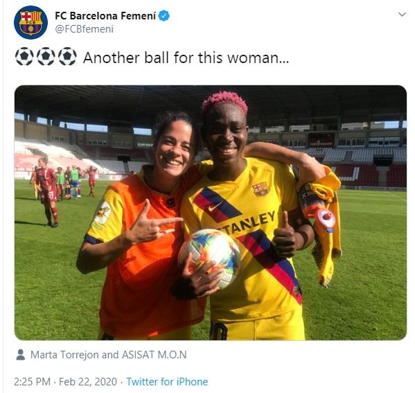 Oshoala Scores Another Hat-Trick As Barcelona Beats Logrono 0-6