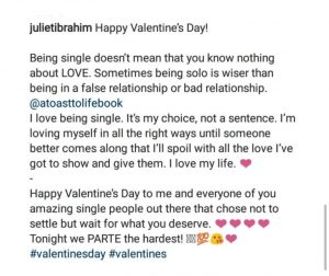 """I Love Being Single, It's My Choice"" – Juliet Ibrahim Writes"