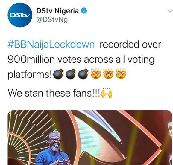 BBNaija 2020 Lockdown edition got 900 Votes - DSTV reveals