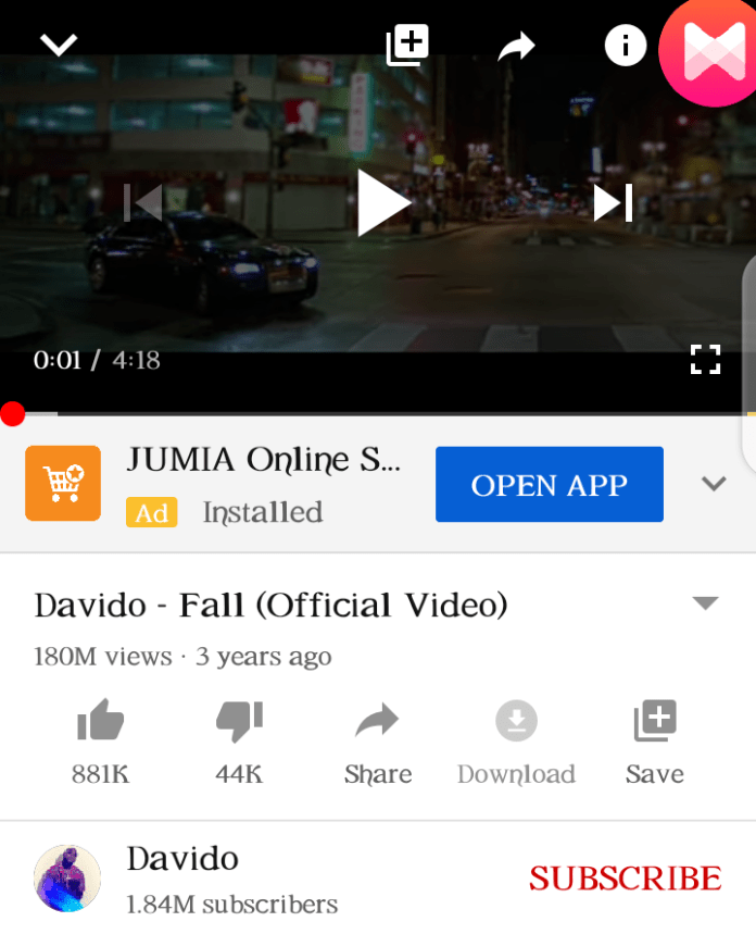 DMW Boss, Davido Hit song Fall, reaches 180M views on Youtube