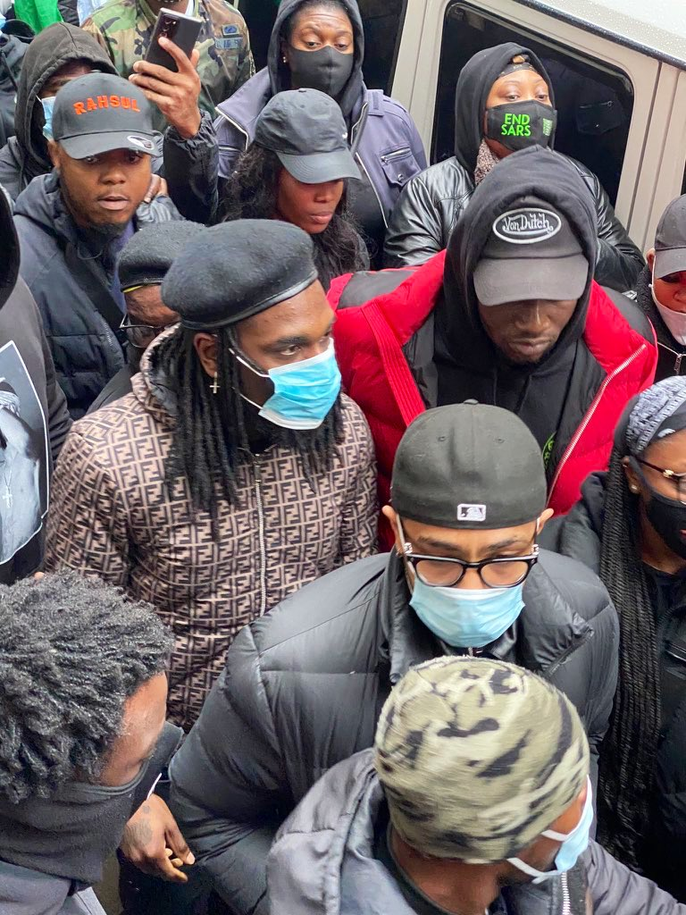 #LekkiMassacre: Burna Boy joins protest in London, see his speech(Video)