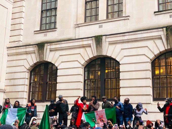 #LekkiMassacre: Burna Boy joins protest in London