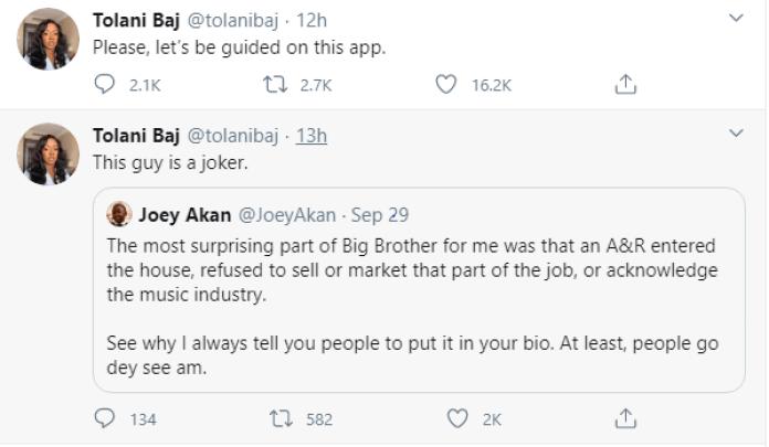 Tolanibaj slams Joey Akan