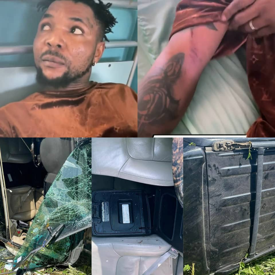 Popular Singer, Oritsefemi Narrowly Escapes Death, Survives Ghastly Motor Accident (Photos/Videos)